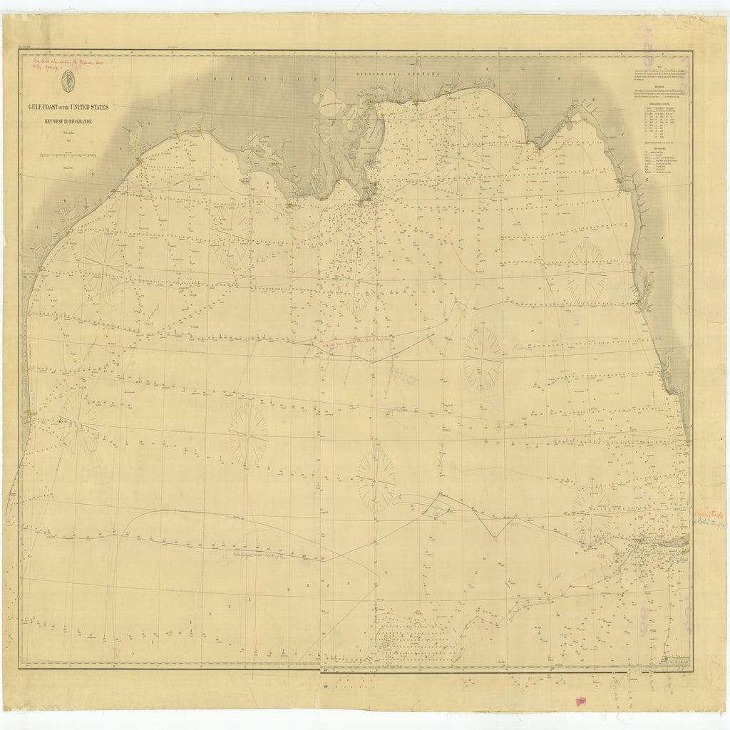 18 x 24 inch 1863 US old nautical map drawing chart of Gulf Coast of the United States Key West to Rio Grande From  U.S. Coast Survey x5570