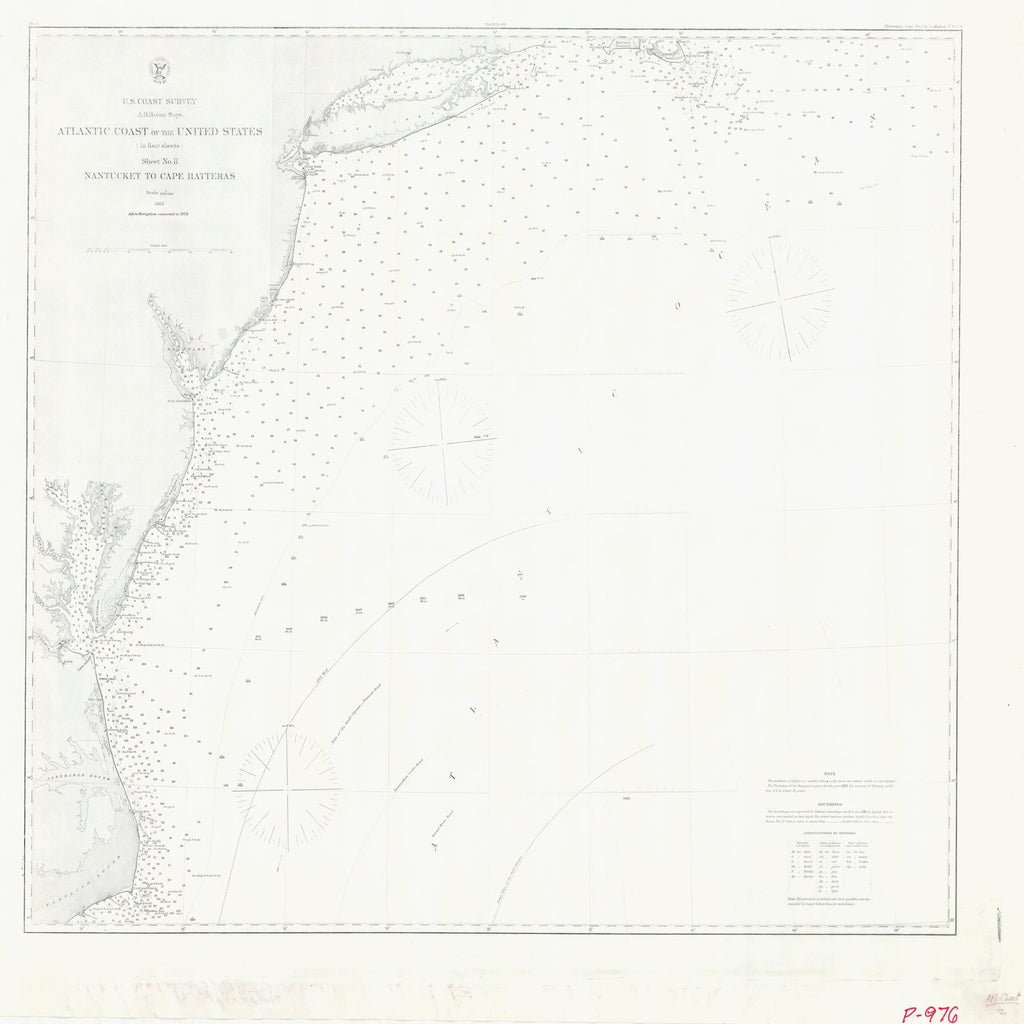 18 x 24 inch 1863 US old nautical map drawing chart of ATLANTIC COAST OF THE UNITED STATES SHEET TWO NANTUCKET TO CAPE HATTERAS From  U.S. Coast Survey x1962