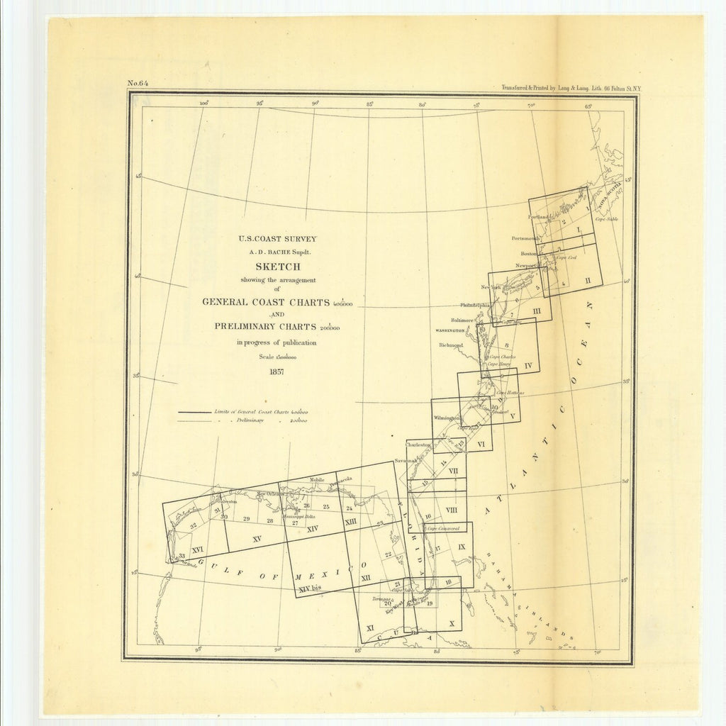 18 x 24 inch 1857 US old nautical map drawing chart of Sketch Showing the Arrangement of General Coast Charts and Preliminary Charts in Progress of Publication From  U.S. Coast Survey x2827