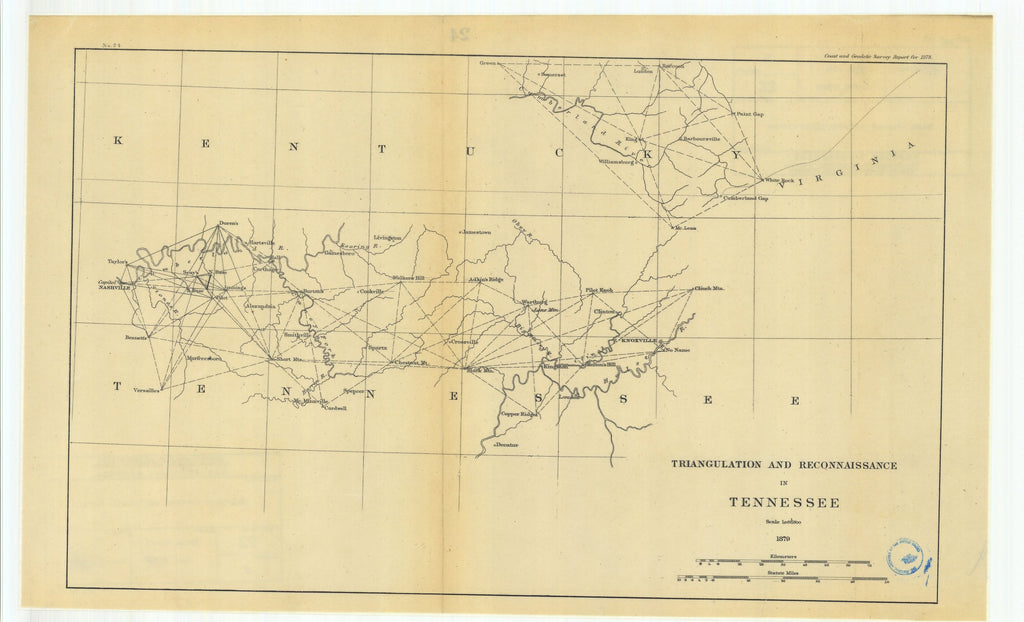18 x 24 inch 1879 New Hampshire old nautical map drawing chart of Triangulation and Reconnaissance in Tennessee From  U.S. Coast Survey x6828