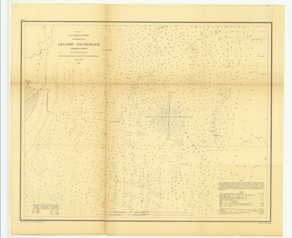 18 x 24 inch 1855 US old nautical map drawing chart of Legare Anchorage, Florida Reefs From  U.S. Coast Survey x760