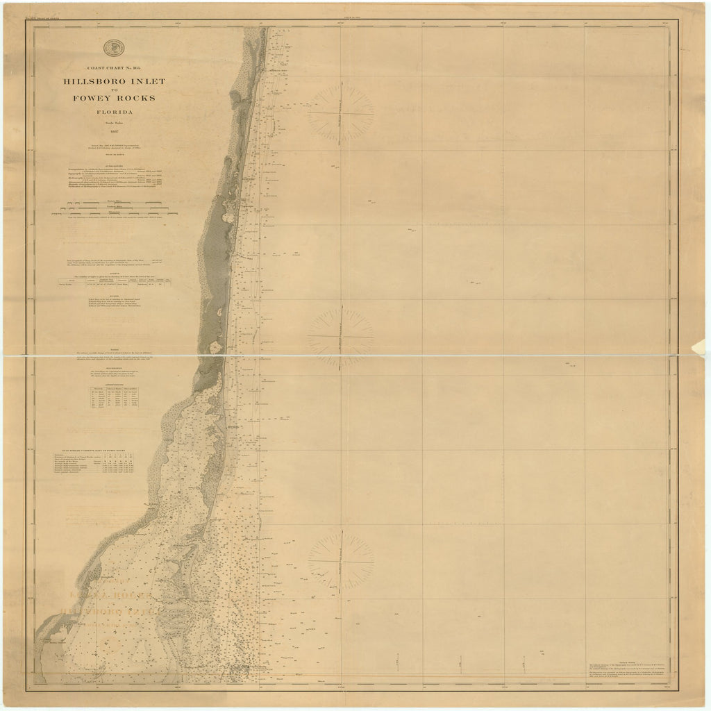 18 x 24 inch 1887 US old nautical map drawing chart of HILLSBORO INLET TO FOWEY ROCKS, FLORIDA From  US Coast & Geodetic Survey x2137
