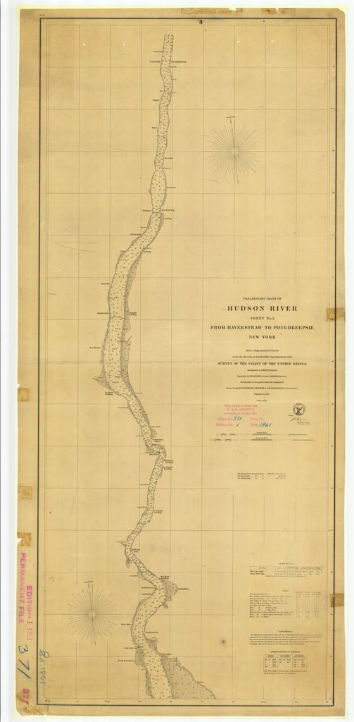 18 x 24 inch 1861 New York old nautical map drawing chart of Hudson River From Haverstraw to Poughkeepsie Sheet No. 2 From  U.S. Coast Survey x7011