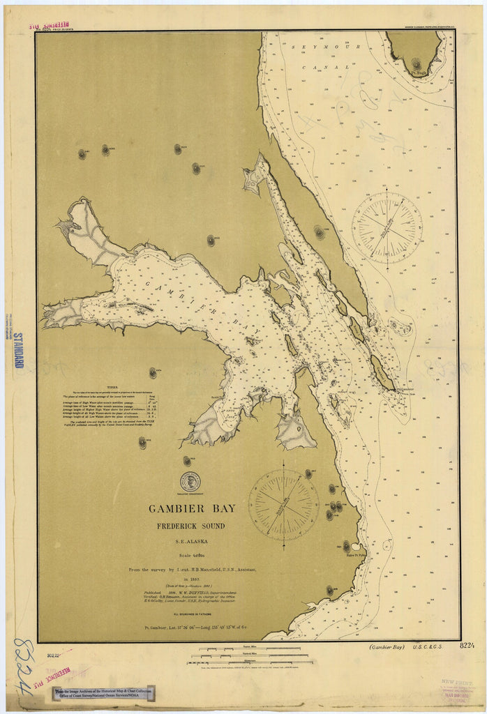 18 x 24 inch 1896 US old nautical map drawing chart of Gambier Bay : Frederick Sound From  US Coast & Geodetic Survey x903