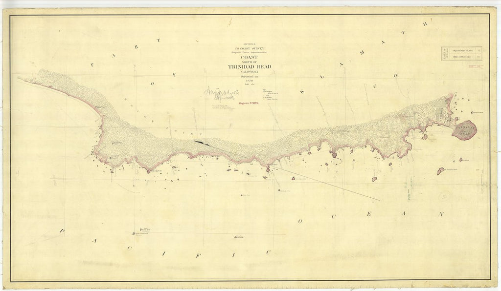 18 x 24 inch 1870 US old nautical map drawing chart of North of Trinidad Head From  U.S. Coast Survey x437