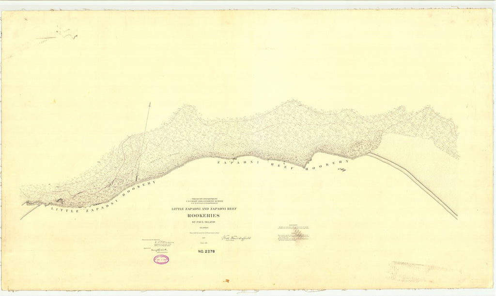 18 x 24 inch 1897 US old nautical map drawing chart of Little Zapadni and Zapadni Reef Rookeries St. Paul Island From  US Coast & Geodetic Survey x222