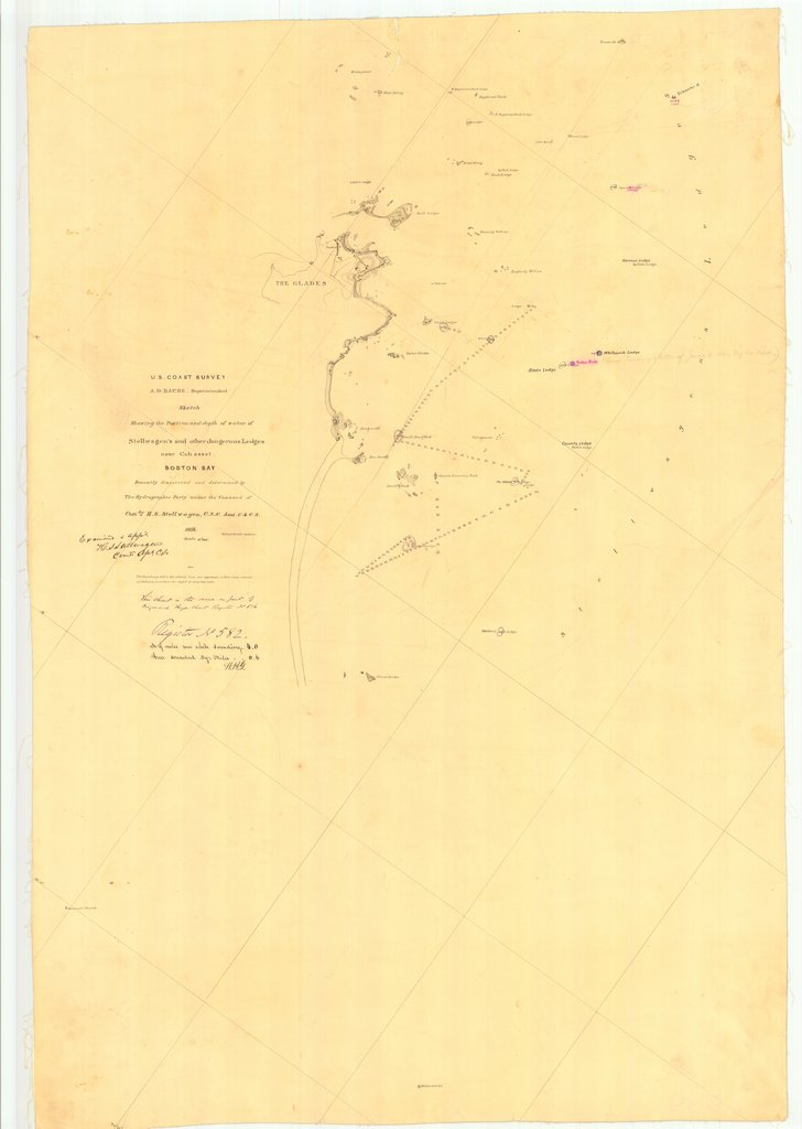 18 x 24 inch 1856 US old nautical map drawing chart of Stellwagen's and other dangerous Ledges near Cohasset Boston Bay From  U.S. Coast Survey x2218