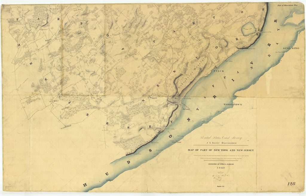 18 x 24 inch 1840 New York old nautical map drawing chart of Map of Part of New York and New Jersey From  U.S. Coast Survey x6900