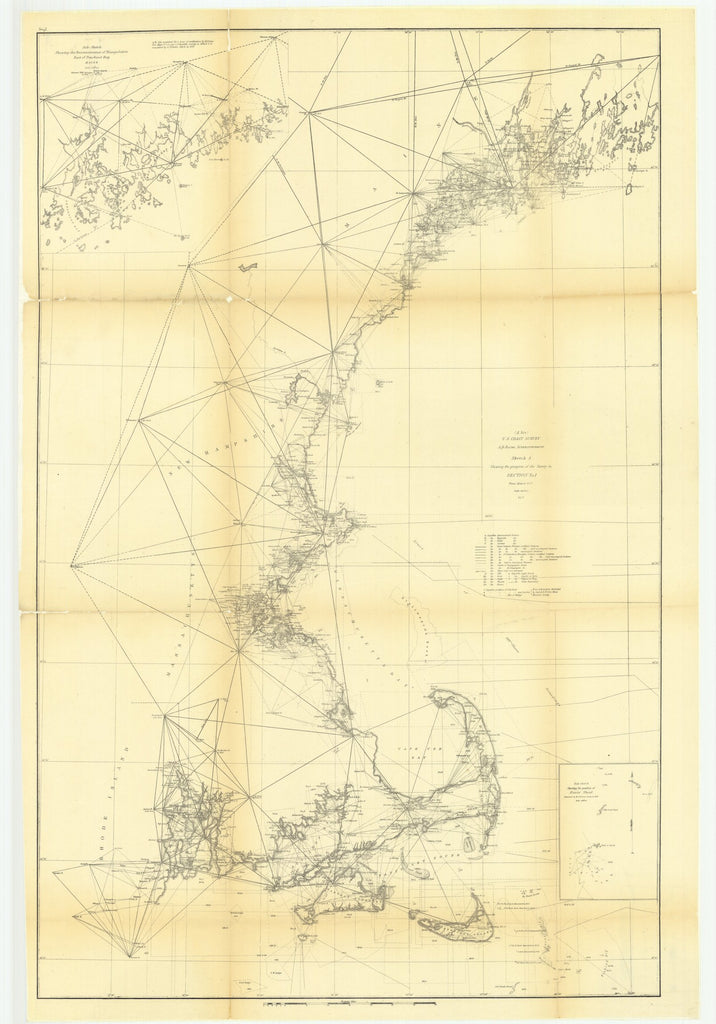 18 x 24 inch 1857 New Hampshire old nautical map drawing chart of Sketch A Showing the Progress of the Survey in Section Number 1 from 1844 to 1857 with Sub Sketch Showing the Position of Davis' ShoalÉ From  U.S. Coast Survey x6250