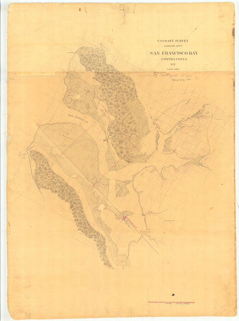 18 x 24 inch 1852 US old nautical map drawing chart of San Francisco Bay Contra Costa From  U.S. Coast Survey x1266
