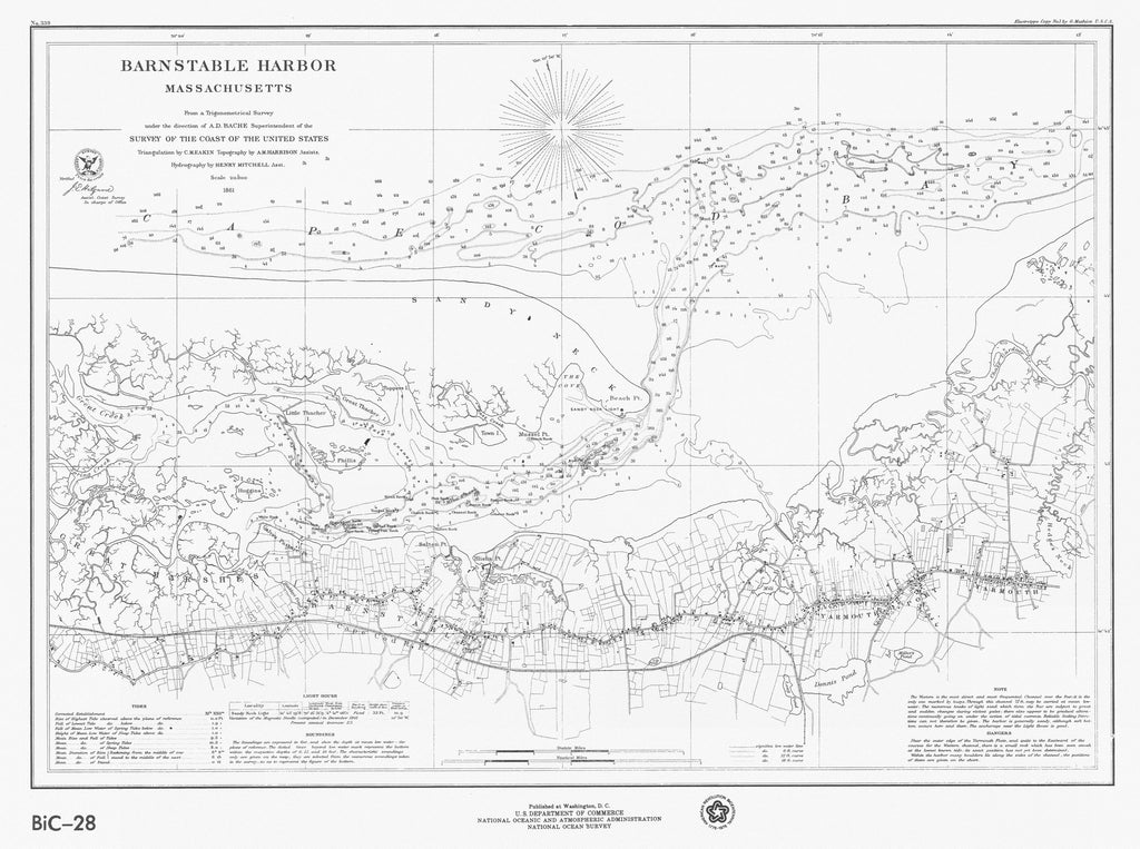 18 x 24 inch 1861 US old nautical map drawing chart of BARNSTABLE HARBOR  From US Coast & Geodetic Survey x2747