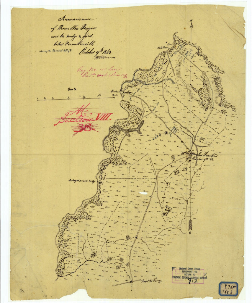 18 x 24 inch 1863 US old nautical map drawing chart of Reconnaissance of Vermillon Bayou Near the Bridge and Ford Below Vermillonville During the Skirmish October Ninth From  NOAA x2011