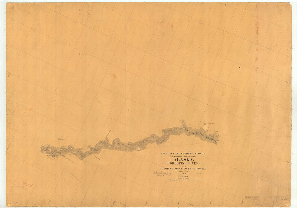 18 x 24 inch 1890 US old nautical map drawing chart of Alaska Porcupine River From Camp Colonna to Fort Yukon From  US Coast & Geodetic Survey x513