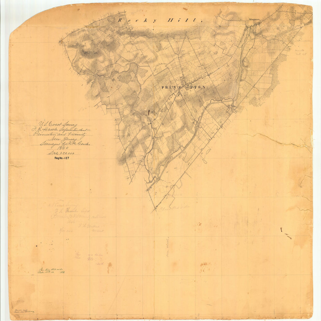 18 x 24 inch 1840 US old nautical map drawing chart of Princeton and Vicinity New Jersey From  U.S. Coast Survey x6094