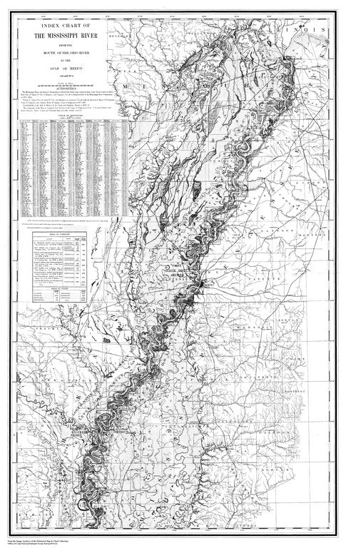 18 x 24 inch 1879 US old nautical map drawing chart of Index Chart of the Mississippi River From  Mississippi River Commission x263