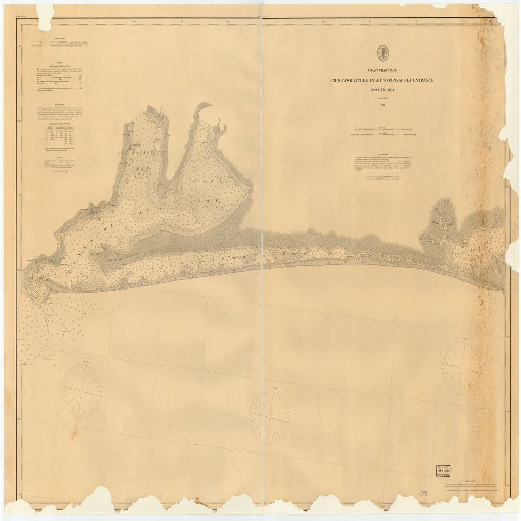 18 x 24 inch 1876 US old nautical map drawing chart of CHOCTAWHATCHEE INLET TO PENSACOLA ENTRANCE, WEST FLORIDA From  US Coast & Geodetic Survey x2088