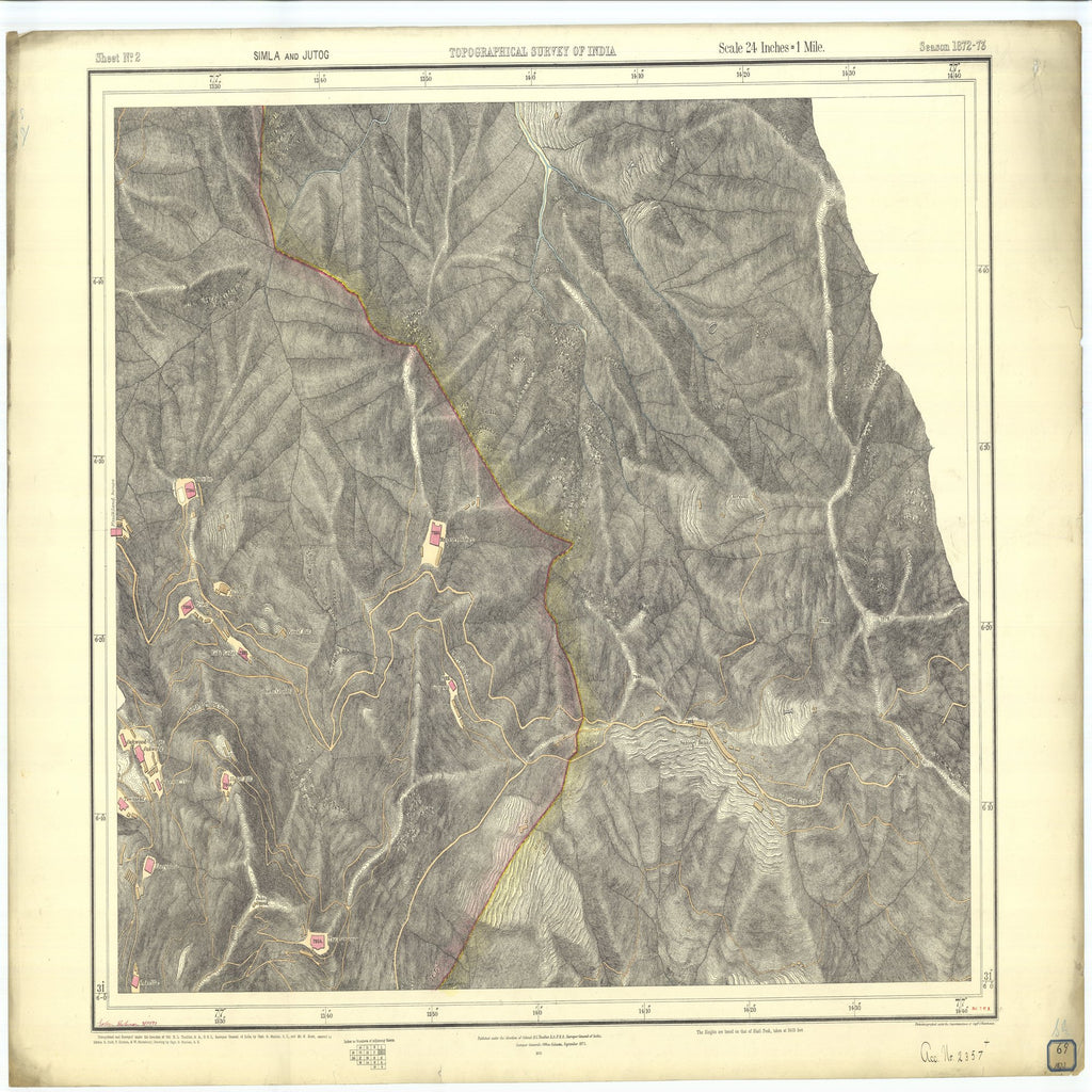 18 x 24 inch 1873 OTHER old nautical map drawing chart of Topographical Survey of India Simla and Jutog From  Surveyor General's Office x7262