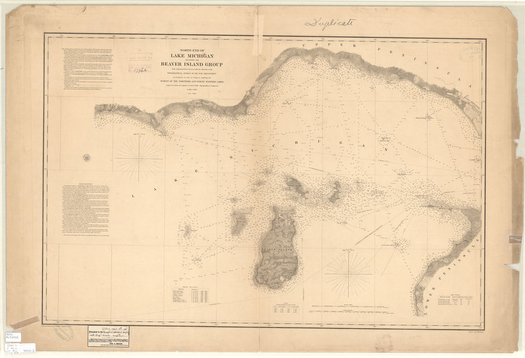 18 x 24 inch 1855 US old nautical map drawing chart of NORTH END OF LAKE MICHIGAN INCLUDING THE BEAVER ISLAND GROUP From  Lake Survey x4154