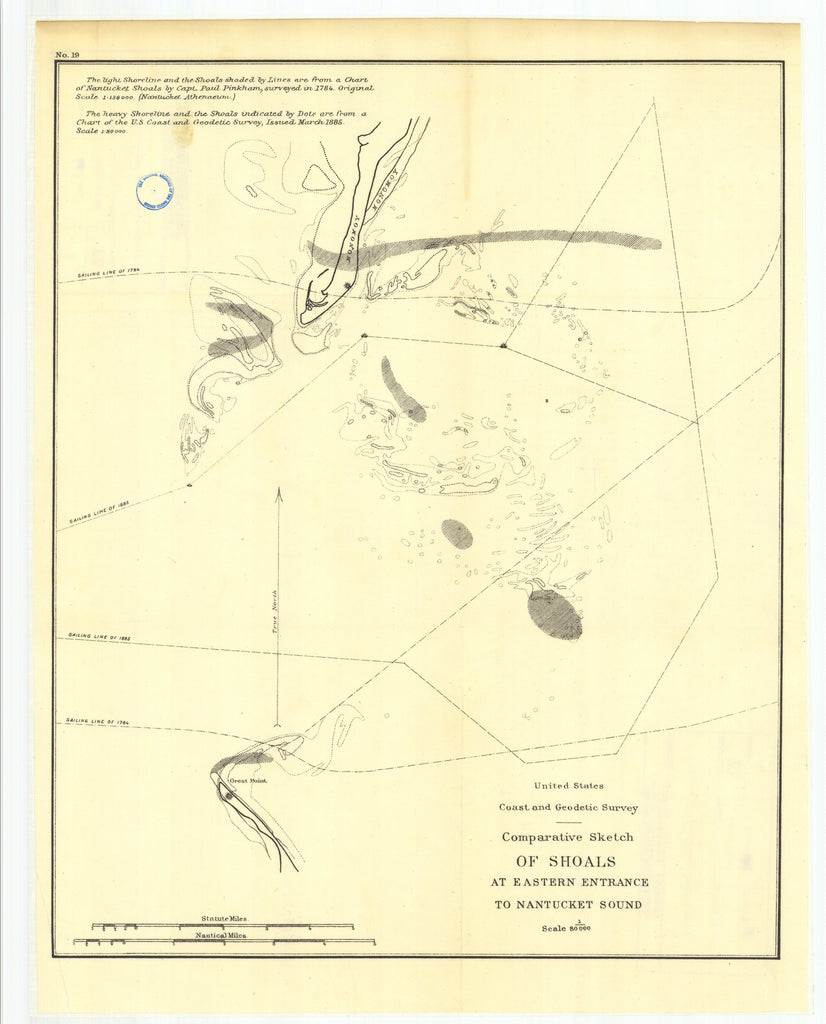 18 x 24 inch 1886 North Carolina old nautical map drawing chart of 19. To Appendix No. 8. Comparative sketch of shoals at the eastern entrance to Nantucket From  US Coast & Geodetic Survey x7111