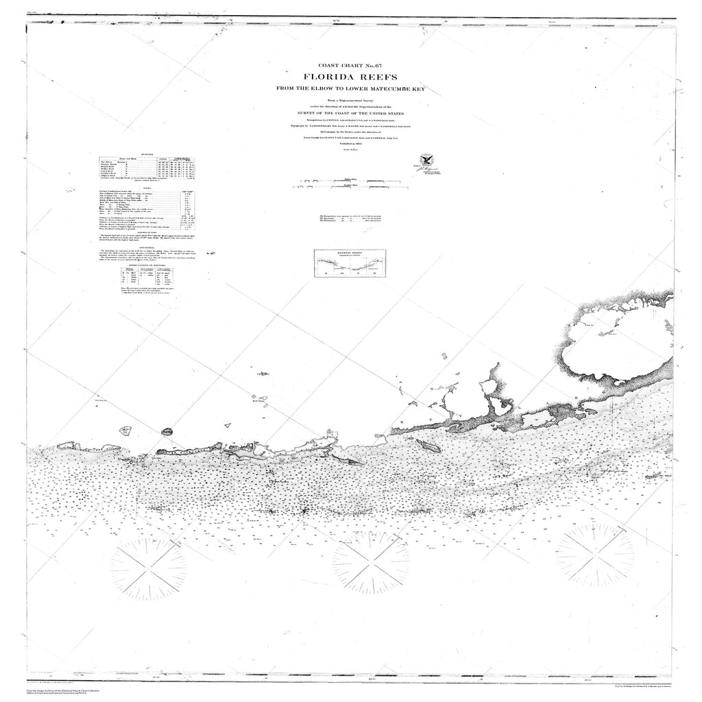 18 x 24 inch 1863 US old nautical map drawing chart of Florida Reefs from the Elbow to Lower Matecumbe Key From  U.S. Coast Survey x1784