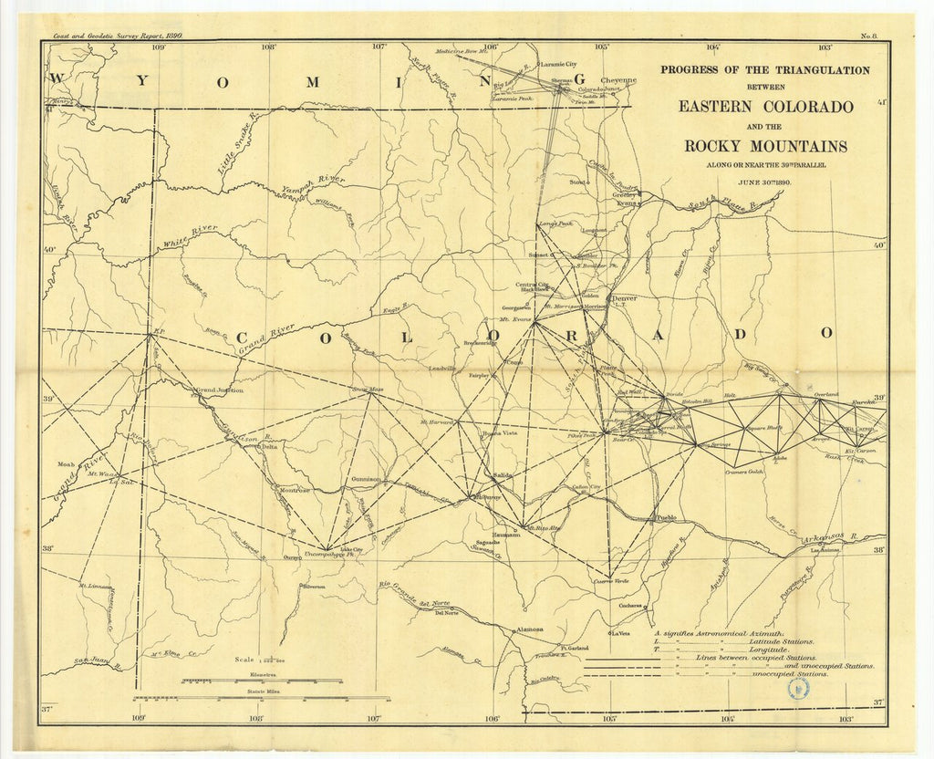 18 x 24 inch 1890 US old nautical map drawing chart of No. 8. Progress: of the triangulation between eastern Colorado and the Rocky Mountains along or near the thirty-ninth parallel. From  US Coast & Geodetic Survey x51
