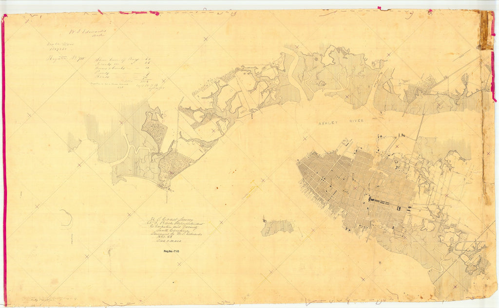 18 x 24 inch 1857 South Carolina old nautical map drawing chart of Charleston and Vicinity, South Carolina From  U.S. Coast Survey x7565