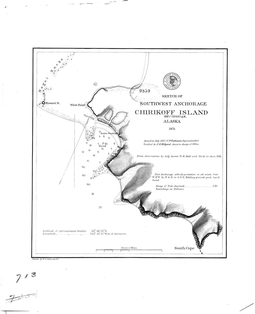 18 x 24 inch 1875 US old nautical map drawing chart of Sketch of Southwest Anchorage : Chirikoff Island From  NOAA x872