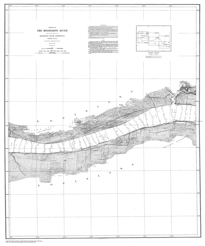 18 x 24 inch 1879 US old nautical map drawing chart of Survey of the Mississippi River From  Mississippi River Commission x2356