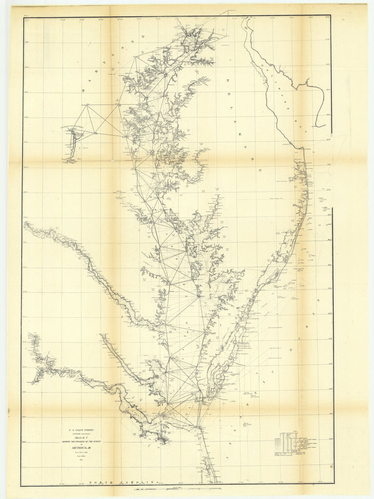 18 x 24 inch 1856 North Carolina old nautical map drawing chart of Sketch C Showing the Progress of the Survey in Section Number 3 from 1843 to 1856 From  U.S. Coast Survey x7173