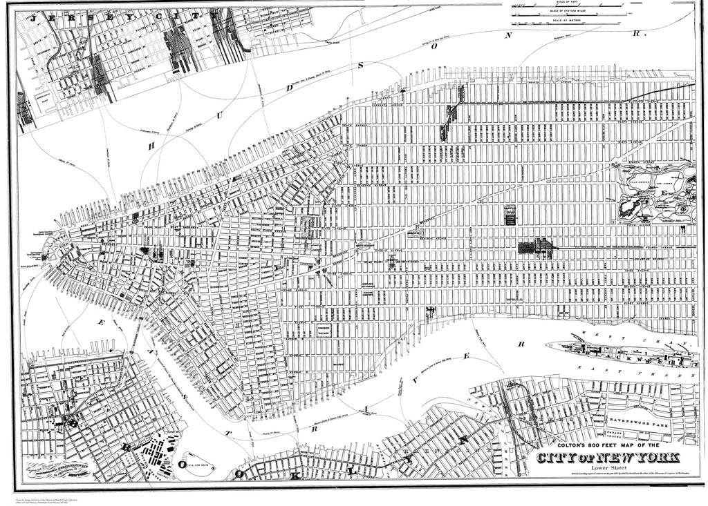 18 x 24 inch 1887 New York old nautical map drawing chart of 800 Feet Map of the City of New York, Middle Sheet From  J. H. Colton x6884