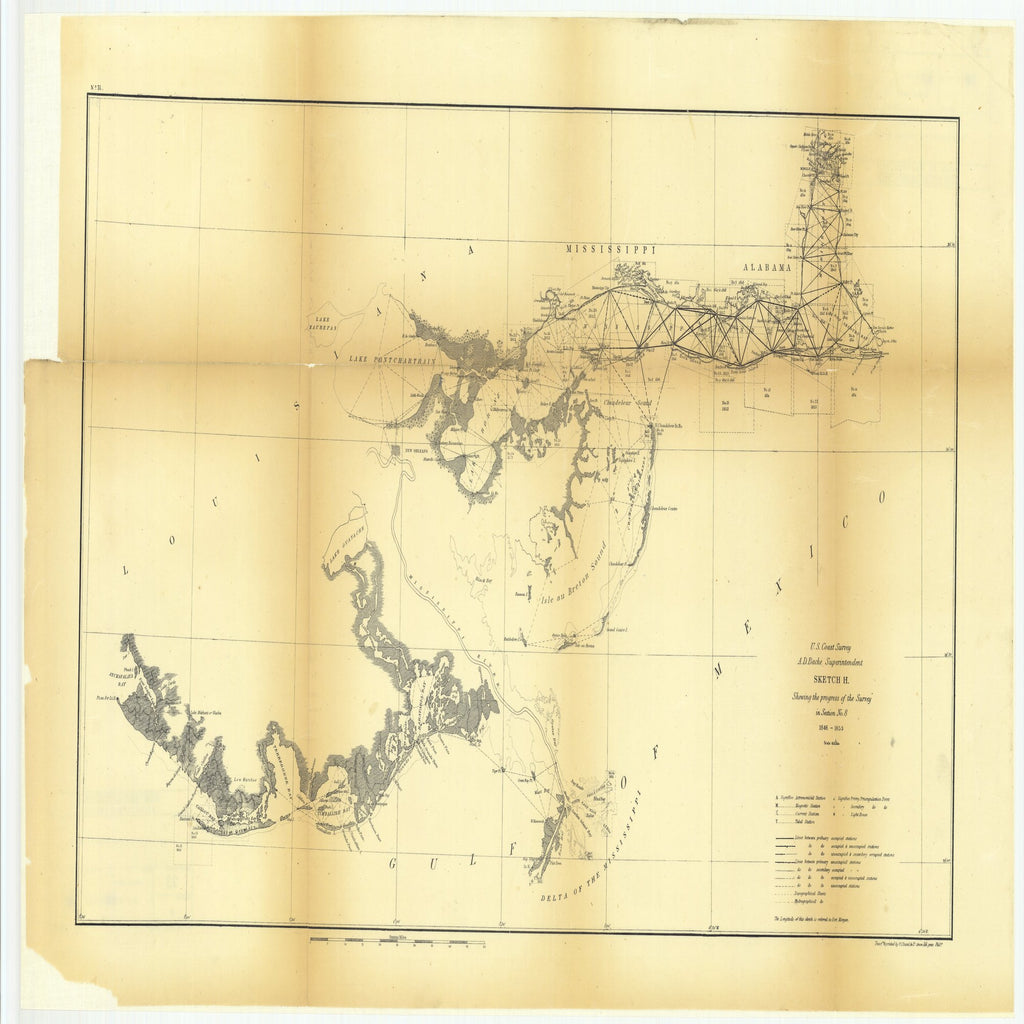 18 x 24 inch 1853 US old nautical map drawing chart of Sketch H Showing the Progress of the Survey in Section Number 8 From  U.S. Coast Survey x3119