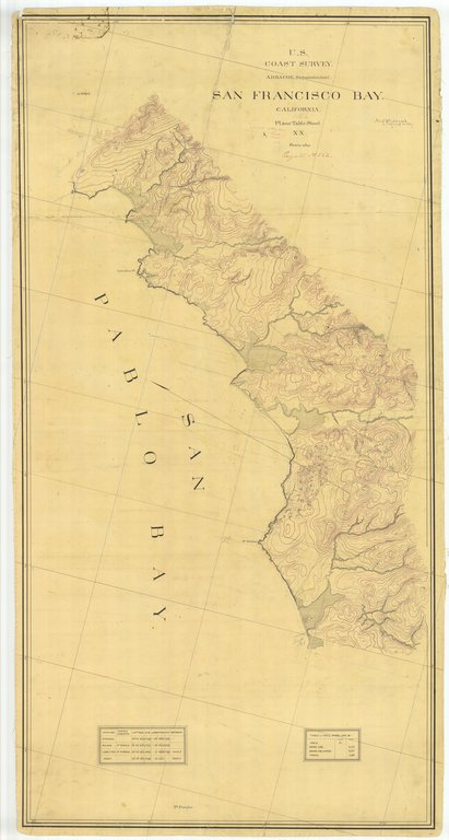 18 x 24 inch 1866 US old nautical map drawing chart of San Francisco Bay, California From  U.S. Coast Survey x420