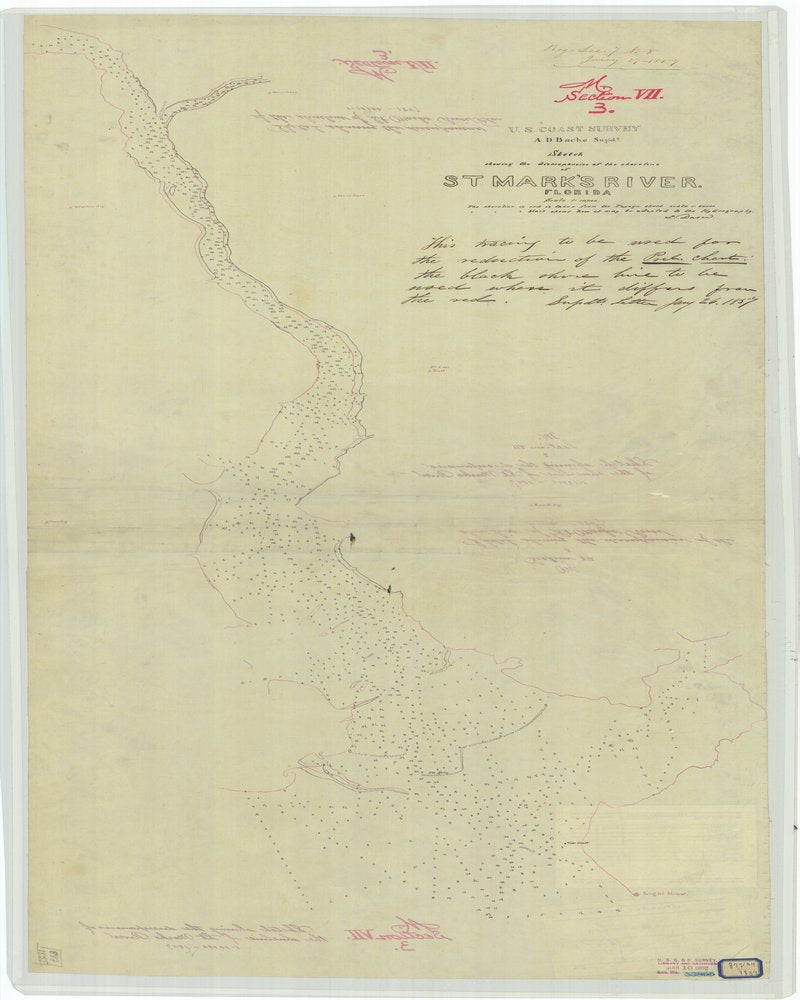 18 x 24 inch 1857 US old nautical map drawing chart of Sketch Showing the Discrepancies of the Shoreline of Saint Mark's River Florida From  U.S. Coast Survey x741