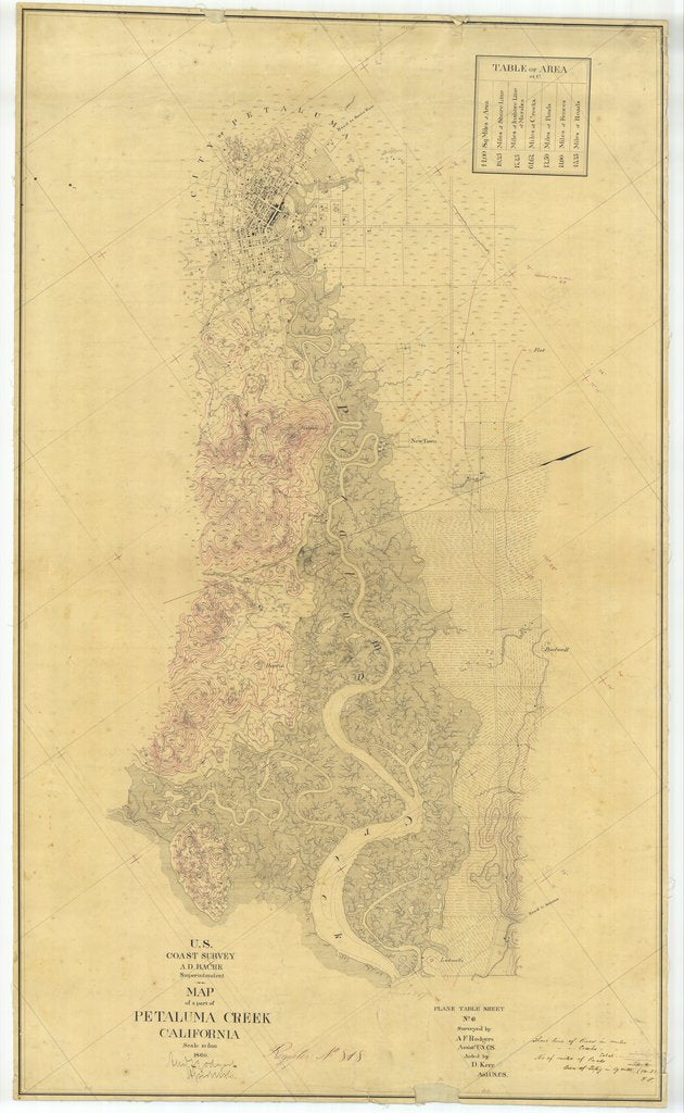 18 x 24 inch 1860 US old nautical map drawing chart of Part of Petaluma Creek, California From  U.S. Coast Survey x1682