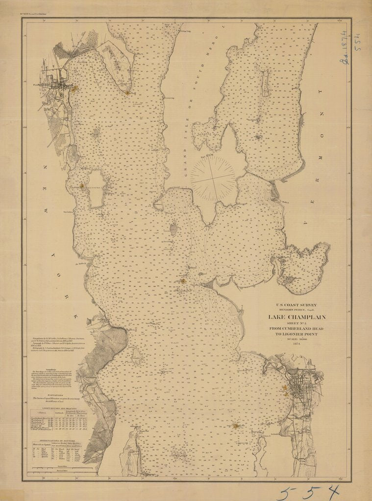 18 x 24 inch 1874 New York old nautical map drawing chart of LAKE CHAMPLAIN SHEET NO. 2 From  US Coast & Geodetic Survey x7003