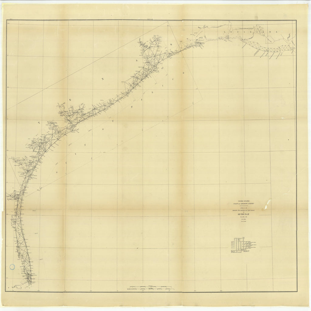 18 x 24 inch 1882 Texas old nautical map drawing chart of Sketch Showing the Progress of the Survey in Section #9 from 1848 to 1882 From  US Coast & Geodetic Survey x11735