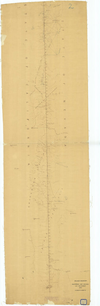 18 x 24 inch 1873 Nevada old nautical map drawing chart of Oblique Boundary California and Nevada Sheet #2 From  US Coast & Geodetic Survey x6698