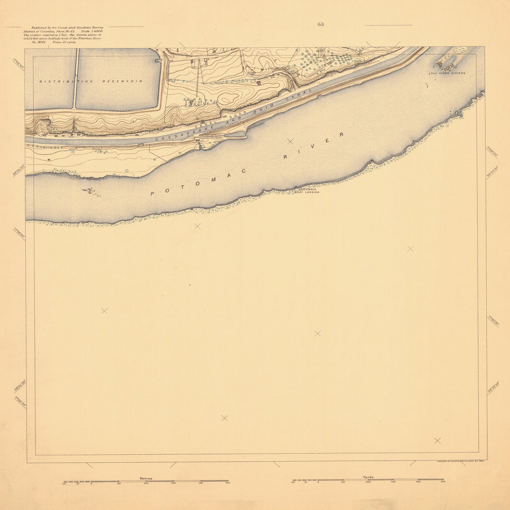 18 x 24 inch 1893 US old nautical map drawing chart of SURVEY OF POTOMAC REGION From  US Coast & Geodetic Survey x1130