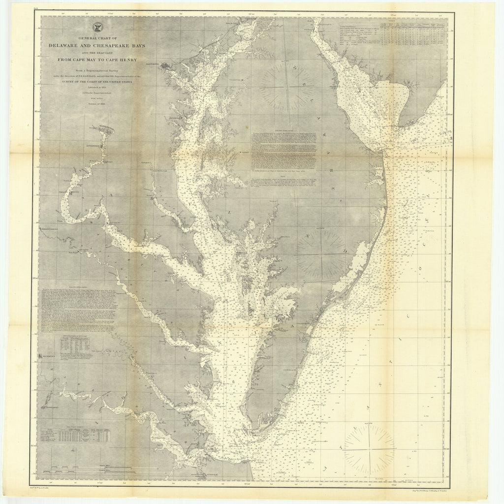 18 x 24 inch 1866 US old nautical map drawing chart of General Chart of Delaware and Chesapeake Bays and the Seacoast from Cape May to Cape Henry From  U.S. Coast Survey x1916