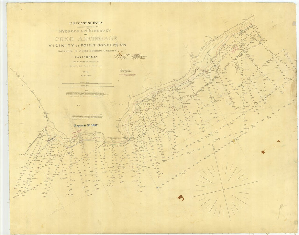 18 x 24 inch 1869 US old nautical map drawing chart of Hydrographic Survey of Coxo Anchorage Vicinity of Point Conception From  U.S. Coast Survey x431