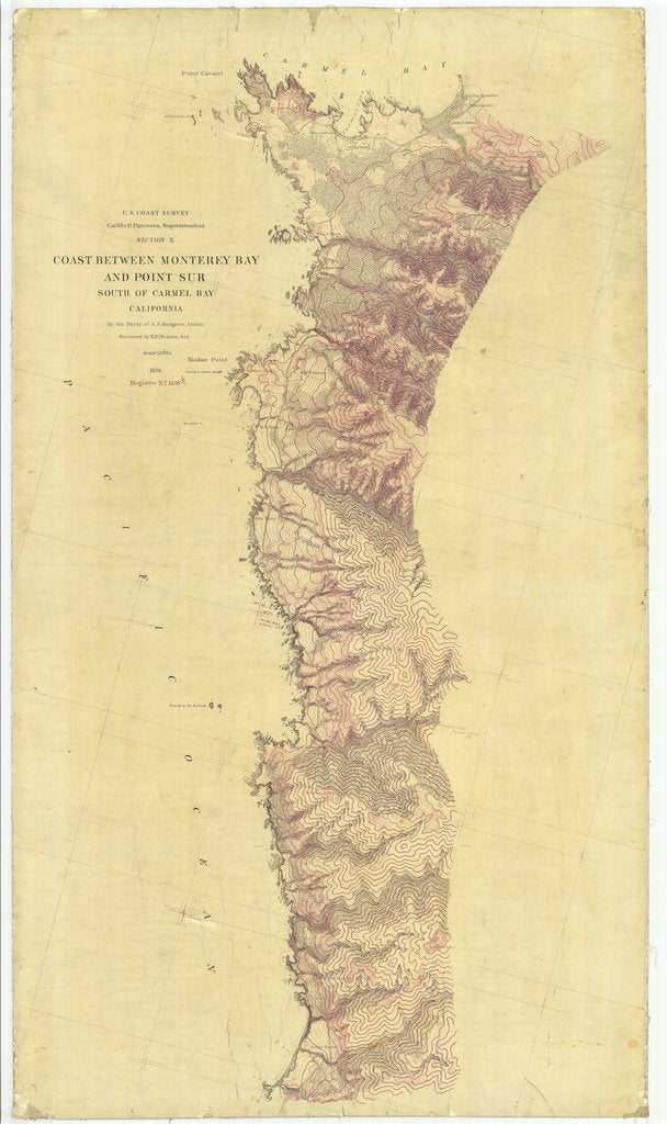 18 x 24 inch 1876 US old nautical map drawing chart of Coast Between Monterey Bay and Point Sur, California From  U.S. Coast Survey x2410