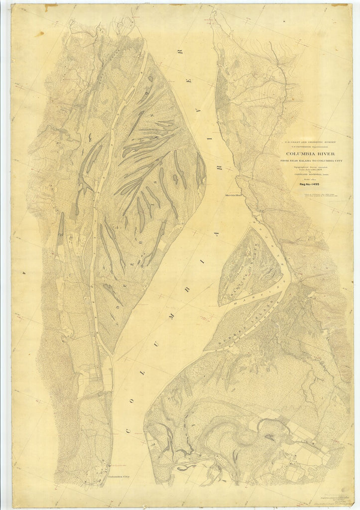 18 x 24 inch 1879 Oregon old nautical map drawing chart of Columbia River From Near Kalama to Columbia City From  US Coast & Geodetic Survey x7110