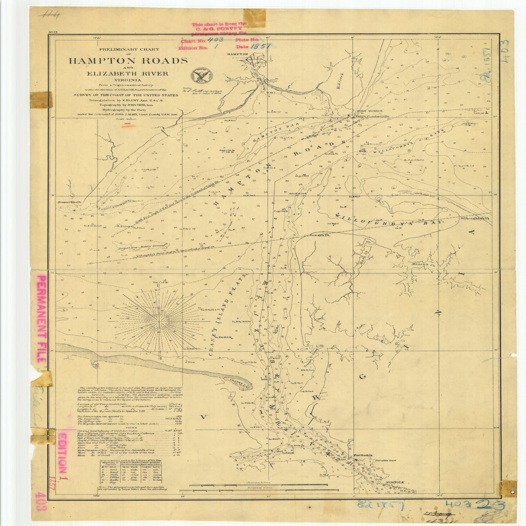 18 x 24 inch 1857 Virginia old nautical map drawing chart of Preliminary Chart of Hampton Roads and Elizabeth River From  U.S. Coast Survey x8771