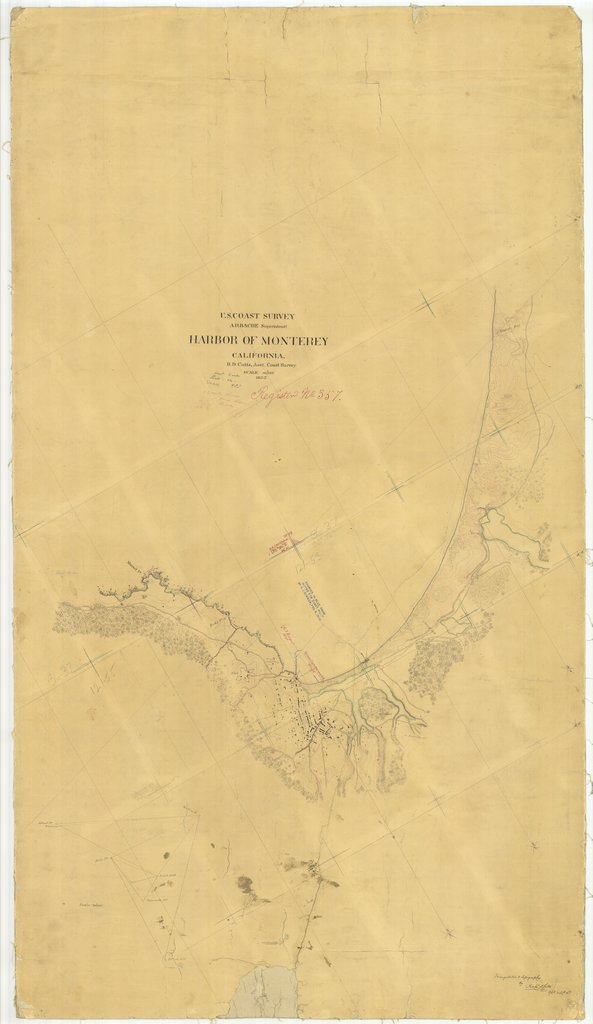 18 x 24 inch 1852 US old nautical map drawing chart of Harbor of Monterey, California From  U.S. Coast Survey x1269
