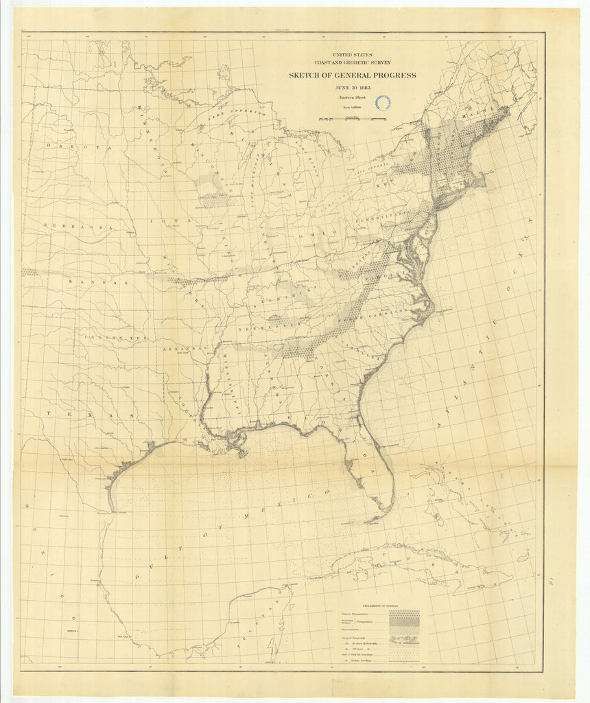 18 x 24 inch 1884 Ohio old nautical map drawing chart of Sketch of General Progress, June 30, 1884, Eastern Sheet From  US Coast & Geodetic Survey x6782