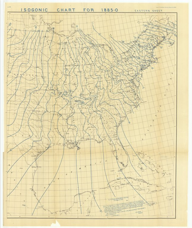 18 x 24 inch 1882 US old nautical map drawing chart of Isogonic Chart for 1885-0 Eastern Sheet From  US Coast & Geodetic Survey x138