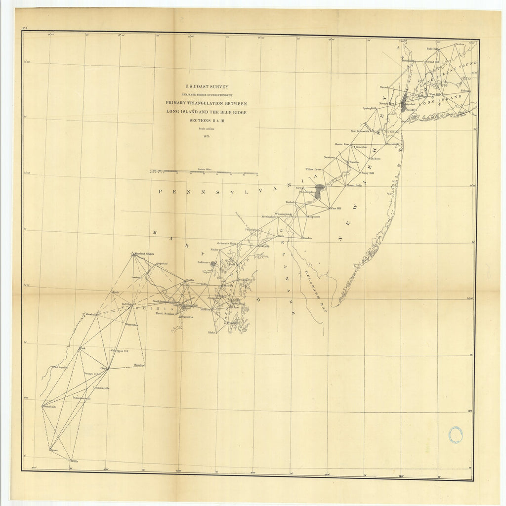 18 x 24 inch 1871 US old nautical map drawing chart of Primary Triangulation Between Long Island and the Blue Ridge, Sections 2 and 3 From  U.S. Coast Survey x1951