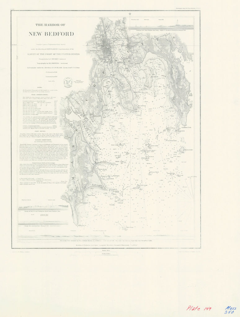 18 x 24 inch 1846 US old nautical map drawing chart of THE HARBOR OF NEW BEDFORD From  NOAA x2796