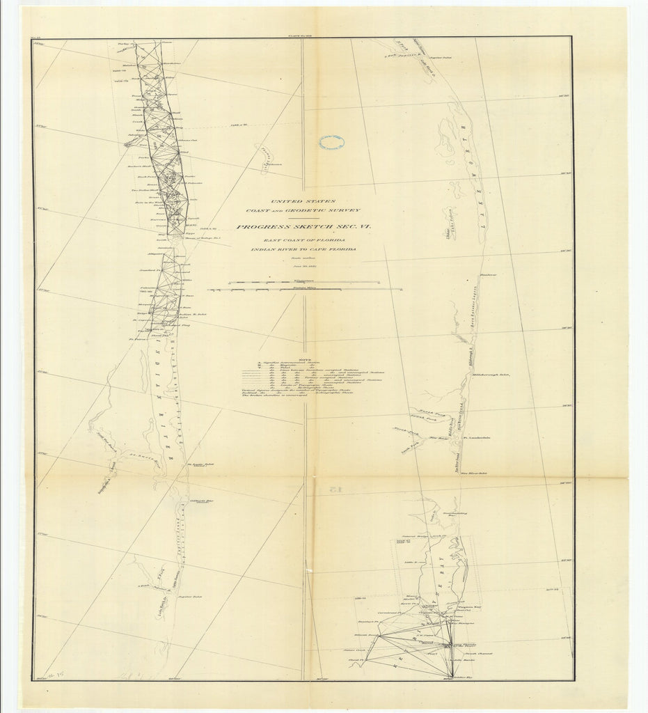 18 x 24 inch 1881 US old nautical map drawing chart of Progress Sketch, Section 6, East Coast of Florida, Indian River to Cape Florida From  US Coast & Geodetic Survey x2550