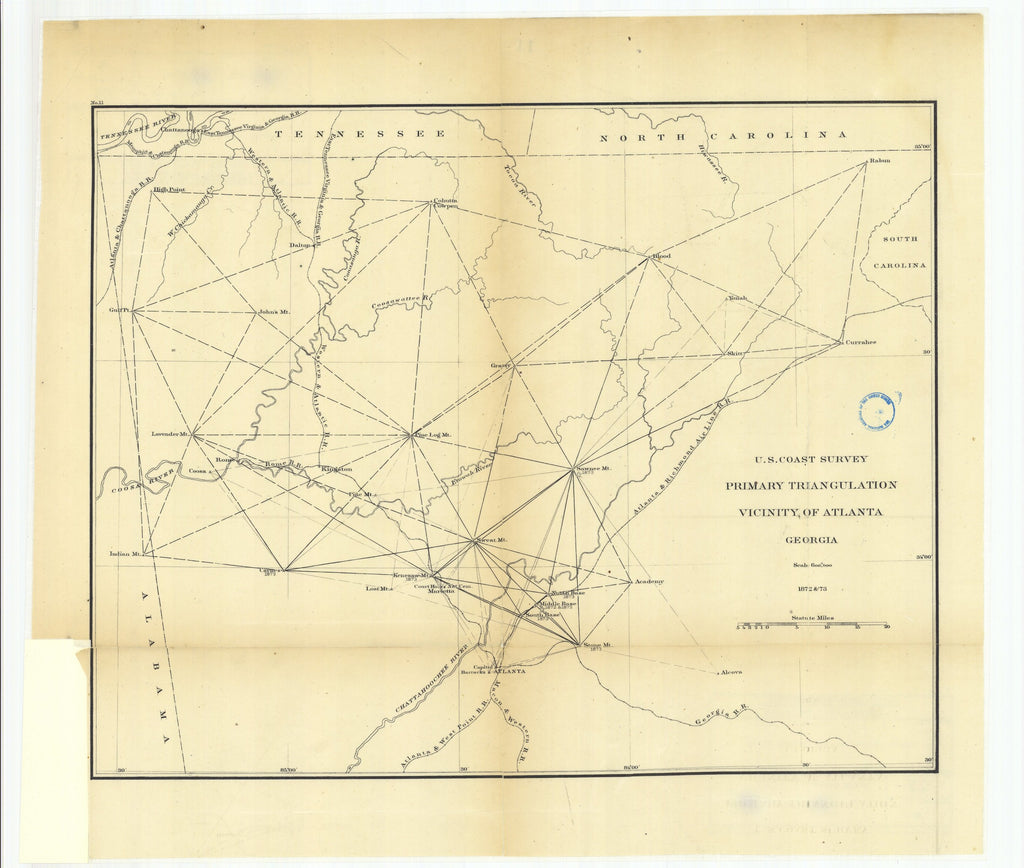 18 x 24 inch 1873 US old nautical map drawing chart of Primary Triangulation, Vicinity of Atlanta, Georgia From  U.S. Coast Survey x1137